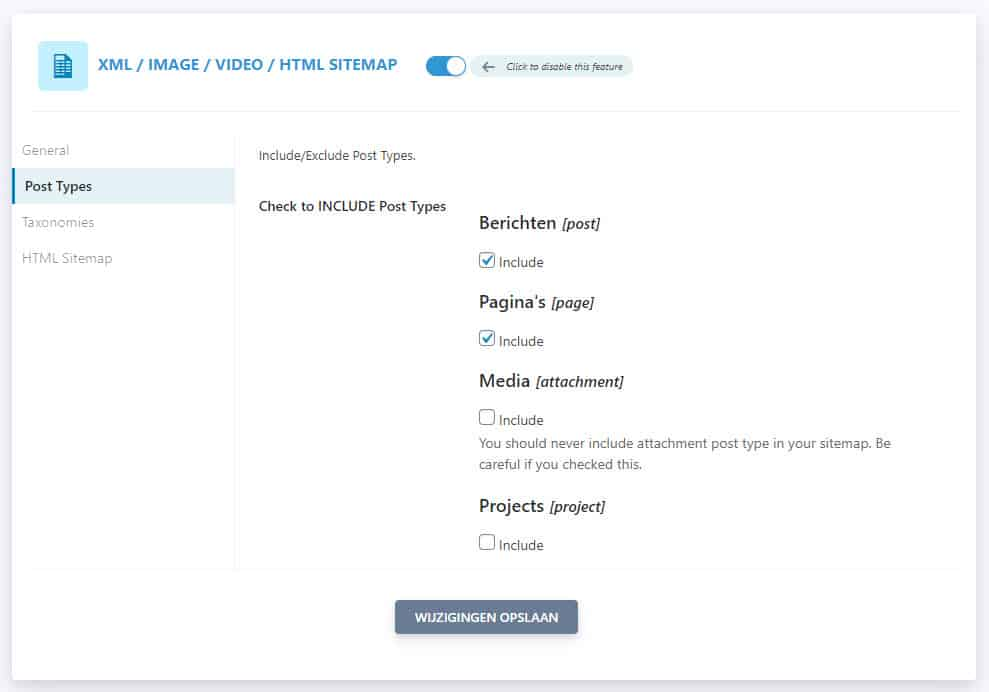 Seopress Post Types Instellingen